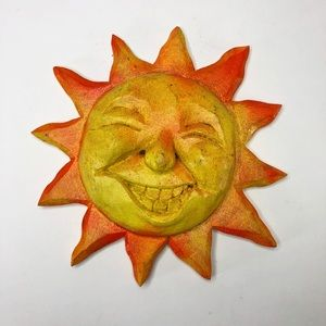 "Folk Art Wooden Sun Wall Decor 7"" in diameter"